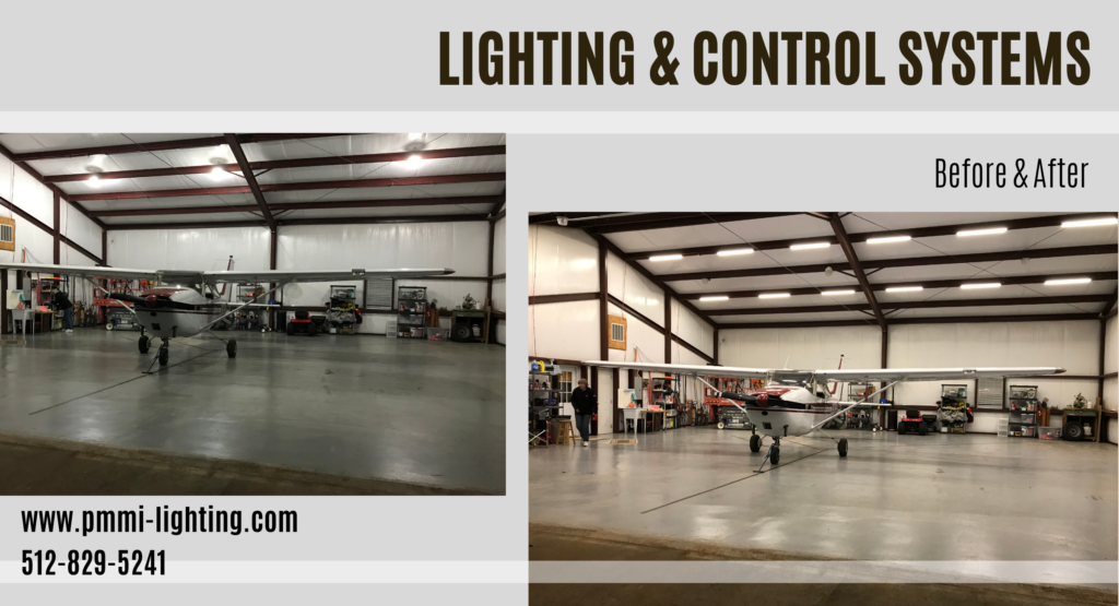 Before and after of lighting this 50 x 50 airplane hangar with LED lighting by PMMI Lighting