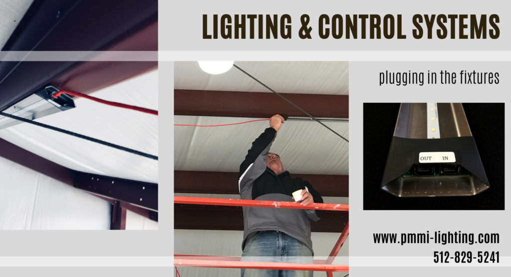Lighting & Control System allows easy plug in fixtures to illuminate the airplane hangar with LED lighting.
