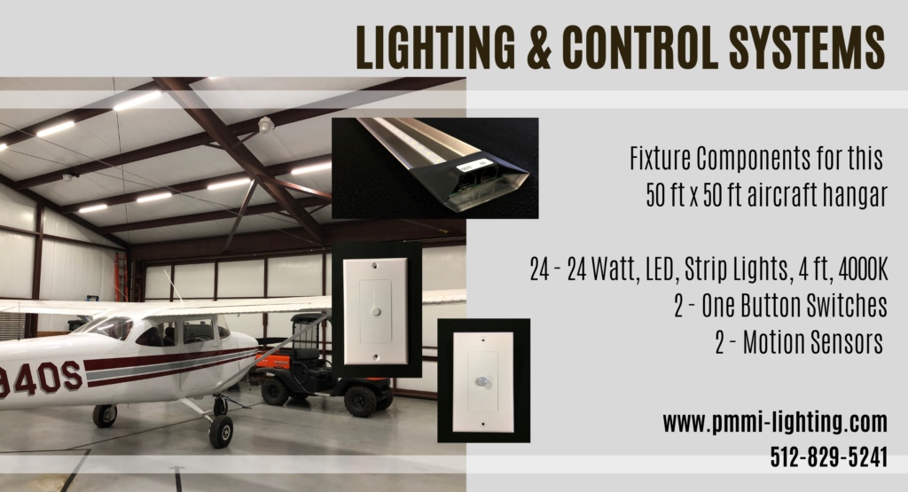Lighting & Control System components for the 50 x 50 airplane hangar. LED Lighting airplane hangar.