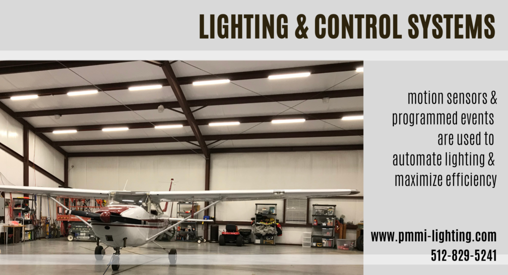 Motion sensors and programmed events in the Lighting & Control System are used to automate lighting and maximize efficiency in this airplane hangar,
