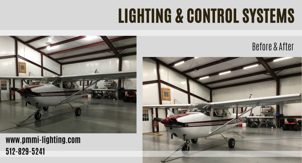 Before and After photos of relighting an airplane hangar with LED Low voltage lighting.